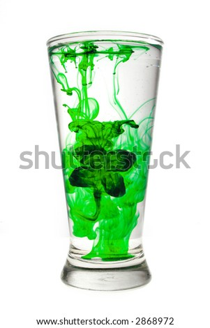 Glass Of Water With Green Shamrock Isolated on White - stock photo