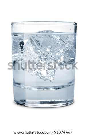 Glass of water with ice  isolated on a white background - stock photo