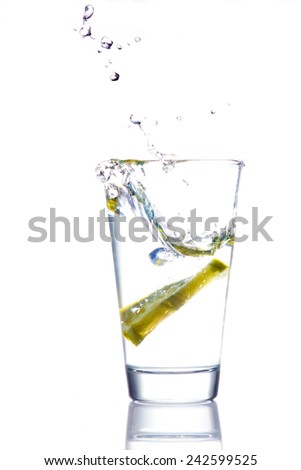 Glass of water with lemon