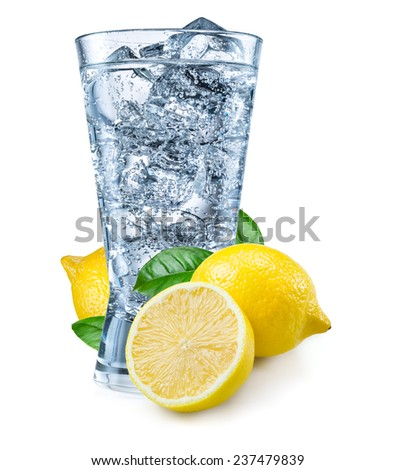 Glass of water with lemon isolated on white. - stock photo
