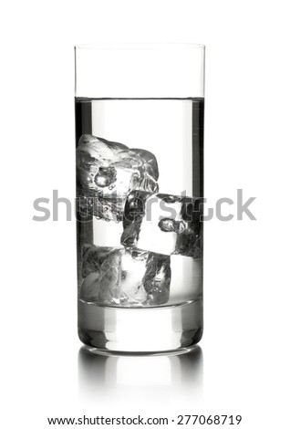 Glass of water with three ice cubes over white background - stock photo
