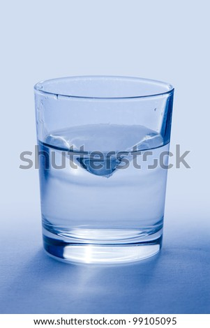 Glass of wather iIsolated with Clipping Path on blue background