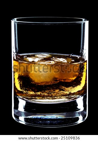 glass of whiskey and ice isolated over a black background - stock photo