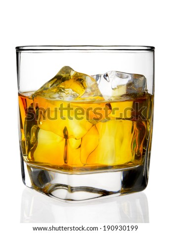Glass of  whiskey and ice on a white background  - stock photo