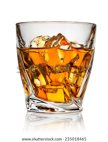 Glass of whiskey isolated on a white background - stock photo