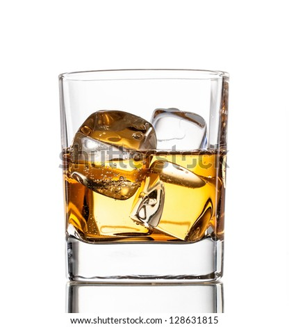 Glass of whiskey, isolated on white background - stock photo