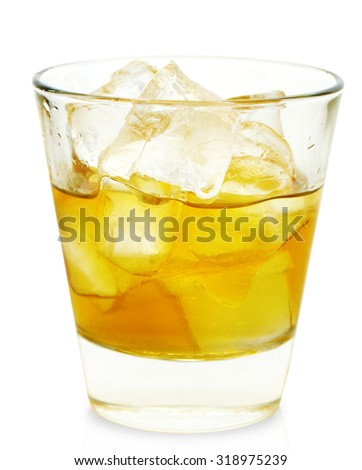 Glass of whiskey isolated on white background. With clipping path