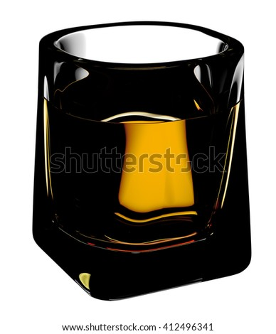 Glass of whiskey with clipping path. Isolated on white background. 3D illustration - stock photo