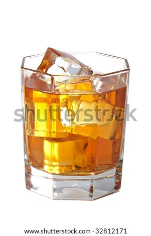 glass of whisky with ice cubes isolated - stock photo