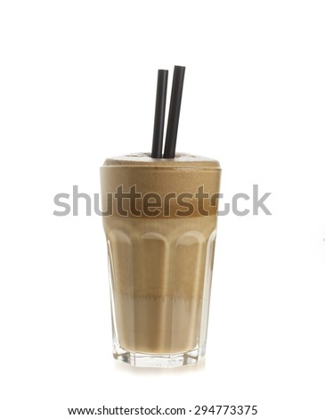 Glass of white coffee frappe isolated on white background
