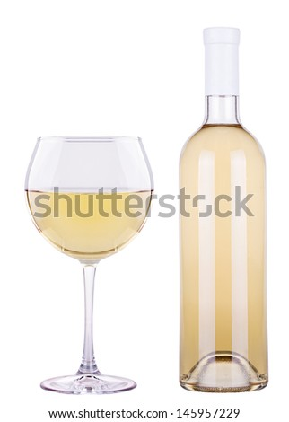 glass of white wine and a bottle isolated over white background - stock photo