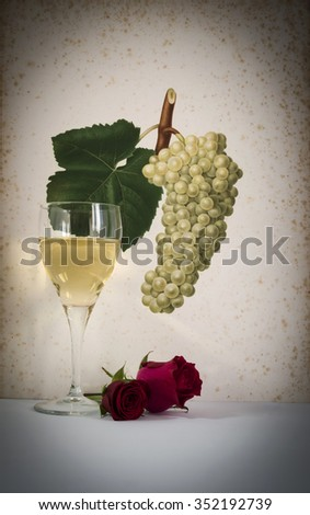 glass of white  wine background grape cluster decorated, romantic moment with flowers rose ,photo with vignetting, natural light, vertical photo - stock photo