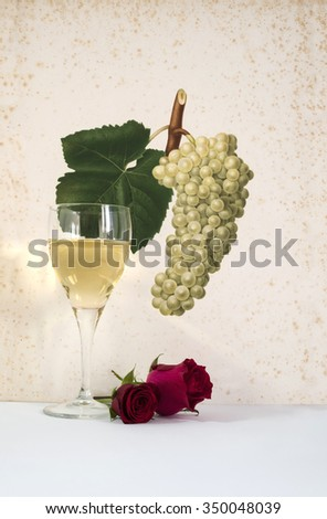 glass of white wine background grapes cluster decorated, romantic moment with flowers rose , natural light, vertical photo - stock photo