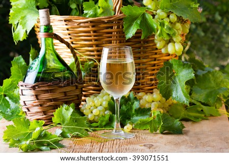 Glass of white wine, bottle of wine, white grapes and basket on garden background. Wine concept