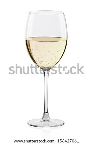 Glass of white wine isolated on a white background - stock photo