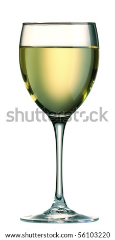 Glass of white wine isolated on white background - stock photo