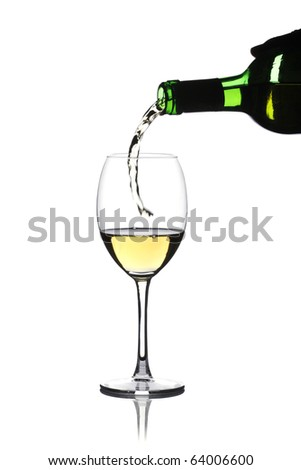 Glass of white wine on a white background and with soft shadow - stock photo