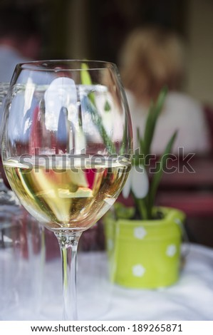 Glass of white wine on table in restaurant on background of spring scenery