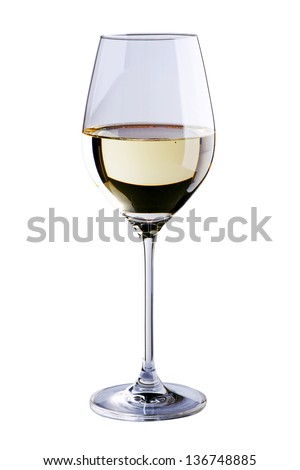 Glass of white wine on white background - stock photo