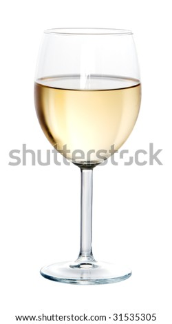 Glass of white wine on white background isolated - stock photo