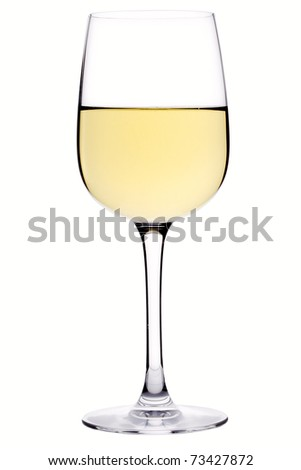 Glass of white wine over white background