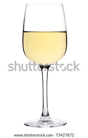 Glass of white wine over white background - stock photo