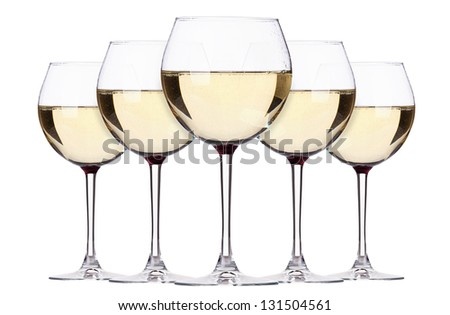 glass of white wine set isolated on a white background
