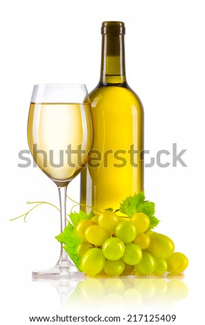 Glass of white wine with bottle and ripe grapes isolated on white - stock photo
