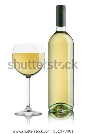 glass of white wine with full bottle on white background - stock photo