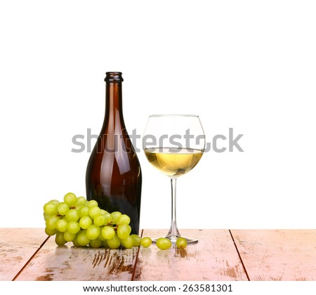 glass of wine, a glass of wine and grapes on board isolated on white background