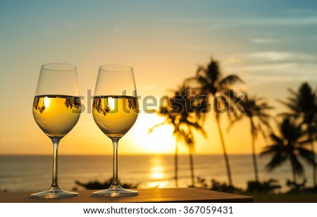 Glass of wine and a beautiful view.  - stock photo