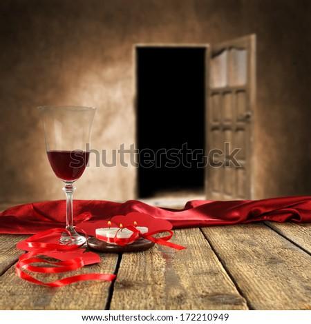glass of wine and doors  - stock photo