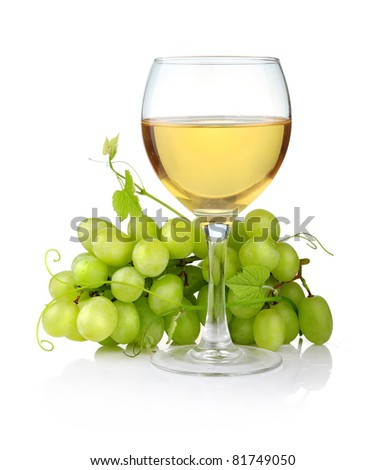 glass of wine and grape branch isolated on white background - stock photo