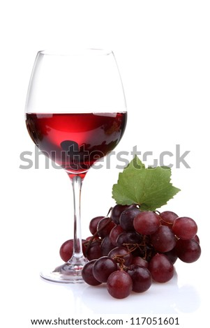 glass of wine and grapes, isolated on white - stock photo