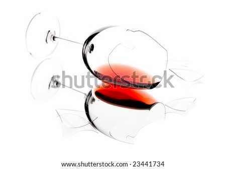 Glass of wine, broken on the mirror. Isolated on white