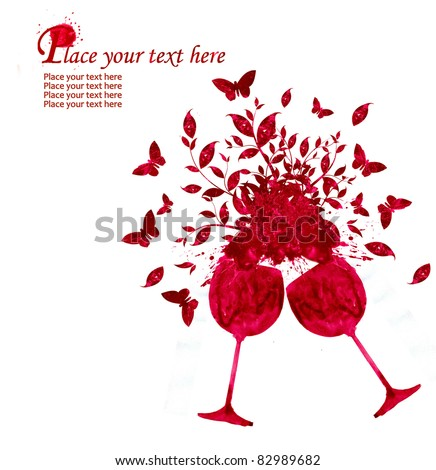 Glass of wine in watercolor technique - stock photo