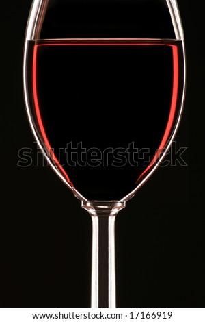 Glass of Wine on black background - stock photo