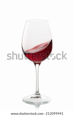 glass of wine on white background