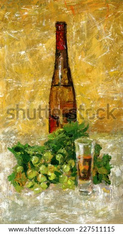 Glass of wine. Open bottle of wine and grapes, still life. Gouache on cardboard.  - stock photo