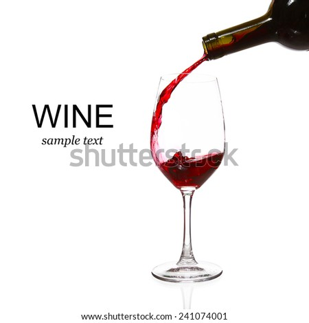 glass of wine over white (with sample text) - stock photo