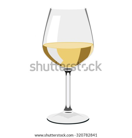 Glass of wine, wine glass isolated, white wine glass - stock photo
