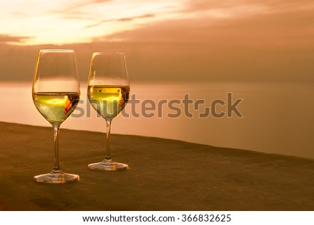 Glass of wine with a view.  - stock photo