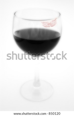 Glass of wine with trace of lipstick
