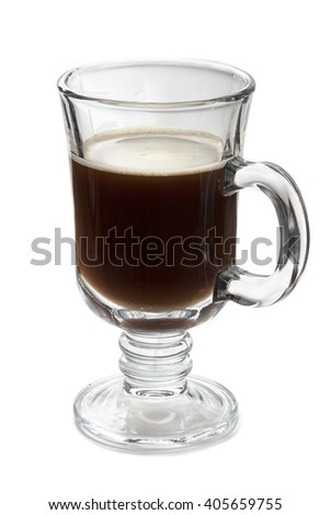 Glass of your favorite hot beverage - coffee, tea, mulled wine. On a white background, glassware, side view. A cup of black coffee for breakfast, strong espresso.  - stock photo
