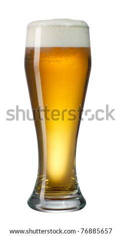 Glass og lager beer isolated on white with path