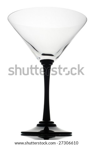 Glass on mirror with white background.