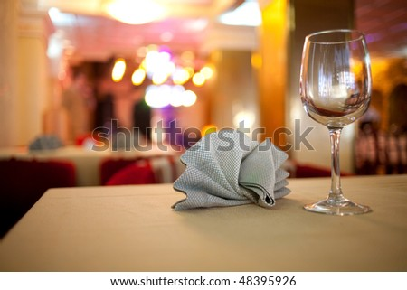 Glass on the table in a restaurant