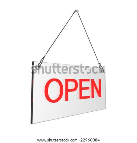 Glass Open hours sign. Digitally generated image.
