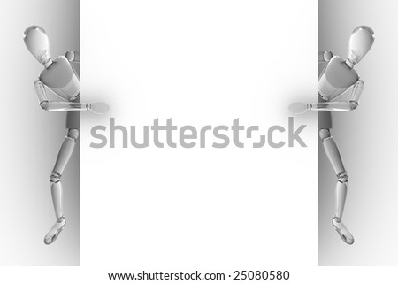 Glass peoples behind white wall - stock photo