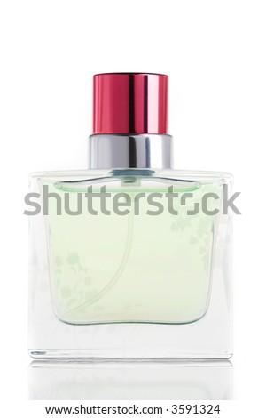 glass perfume bottle on a white background - stock photo